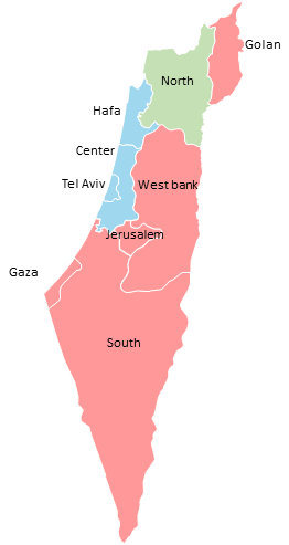 Israel - Editable map