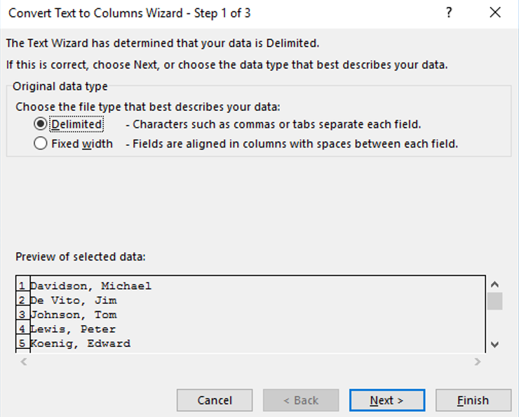 Excel Text-to-Columns - Dialog Box - Delimited