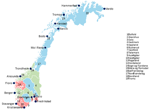 Norway - Editable map