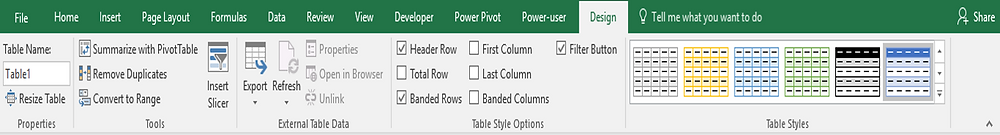 Excel Tables - Design tab