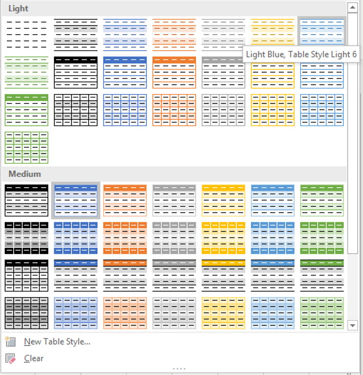 Excel Tables - Styles
