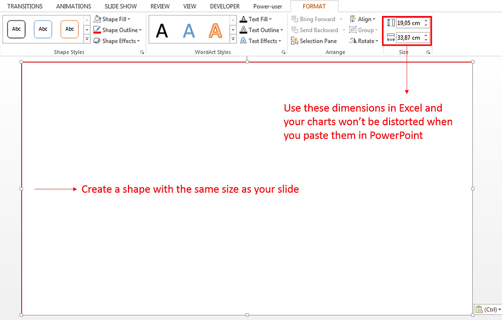 Excel Dashboard - Avoid distortion of your charts when pasting them in PowerPoint