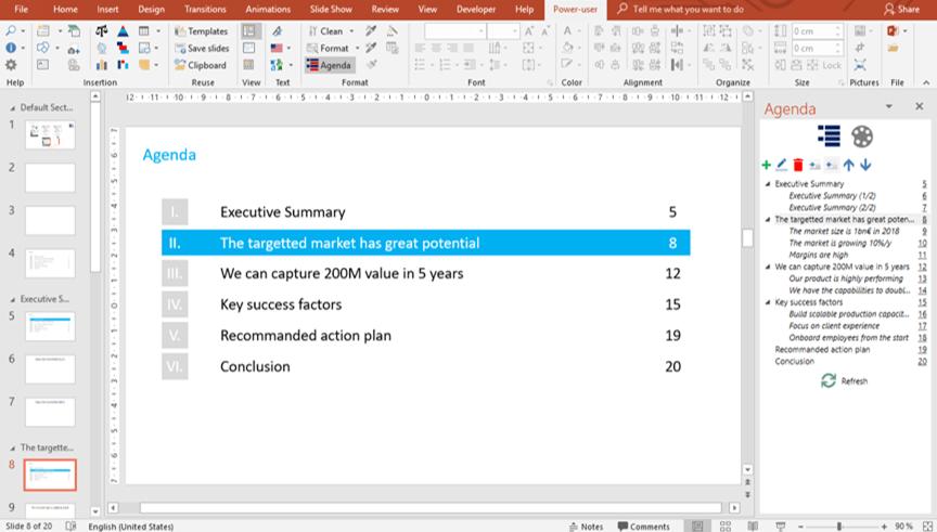 Power-user PowerPoint automatic agenda builder