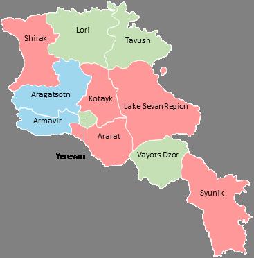 Armenia - Editable map