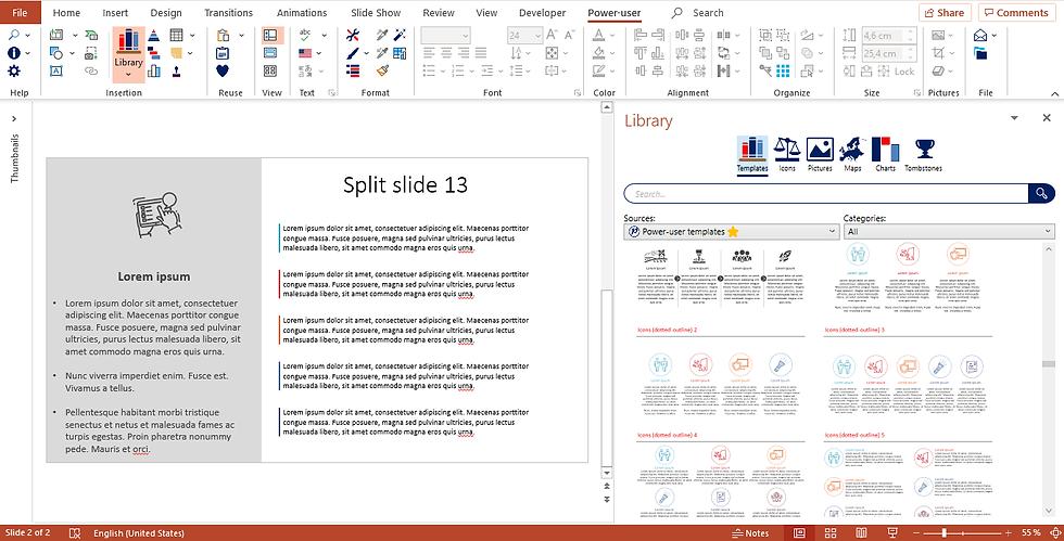 Power-user add-inn l Library - PowerPoint templates