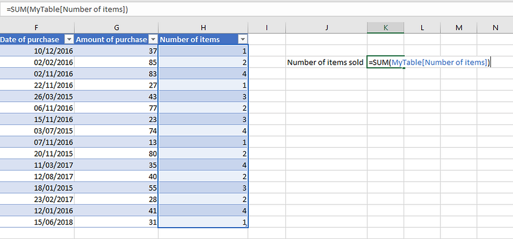 Excel Tables - Named ranges
