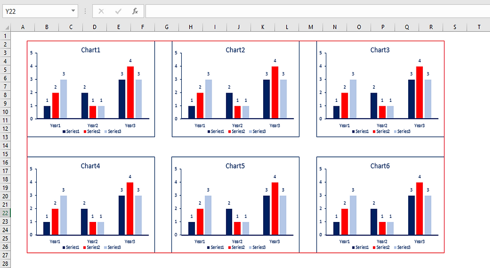 Resize and position your charts in the red frame, then group them
