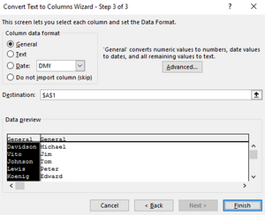 Excel Text-to-Columns - Preview and format