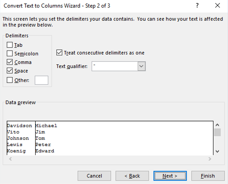 Excel Text-to-Columns - Preview