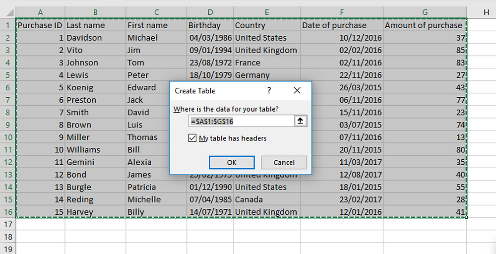 Excel Tables - Insertion dialog box