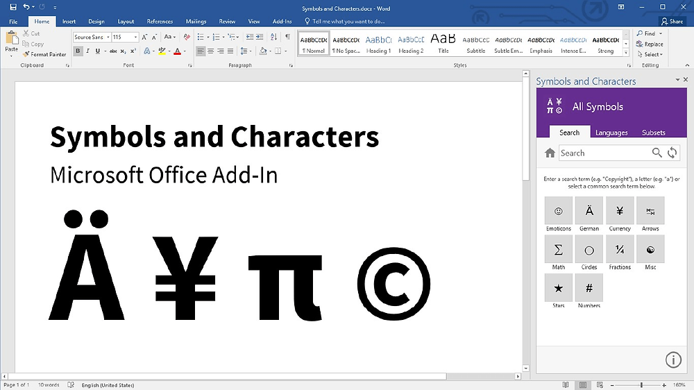 Word add-in l Symbols and Characters