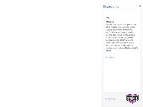 Word add-in l Rhymes.net