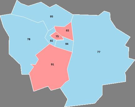 Ile-de-France - Editable map