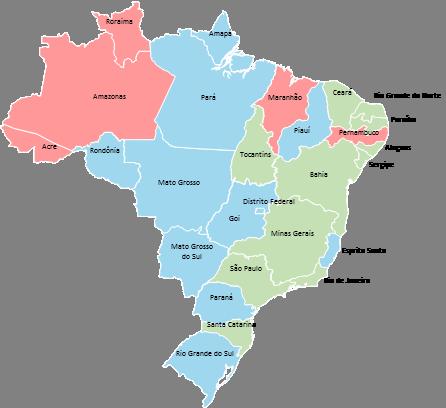 Brazil - Editable map