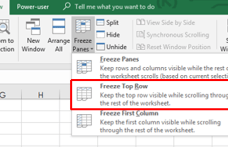 How to freeze rows or columns with panes in Excel