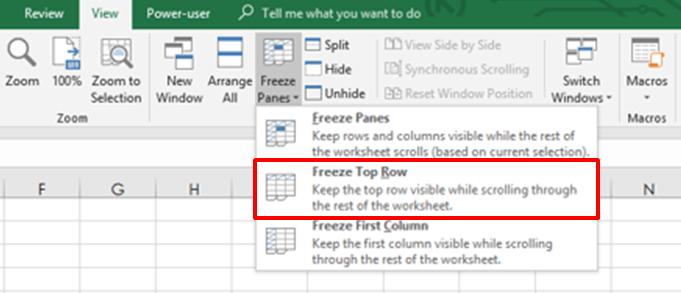Freeze Top Column in Excel