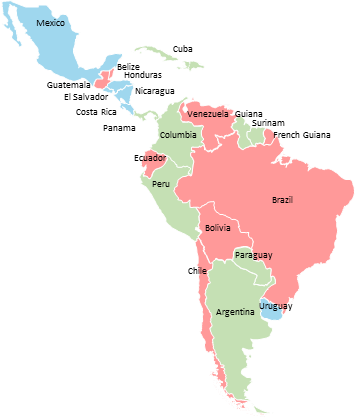 South America - Editable map