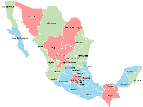 Mexico - Editable map