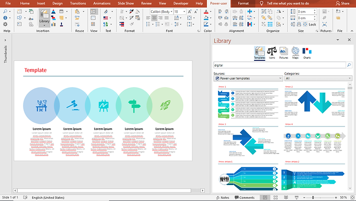 Power-user for PowerPoint, Excel & Word l Templates library