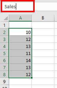 Naming ranges - Name box