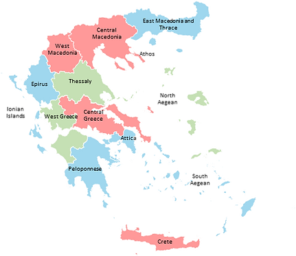 Greece - Editable map