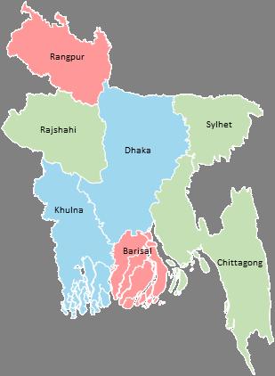 Bangladesh - Editable map