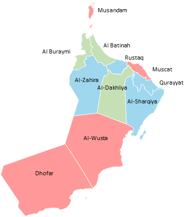 Oman - Editable map