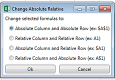 Power-user PowerPoint and Excel add-in utilities Change formulas absolute relative