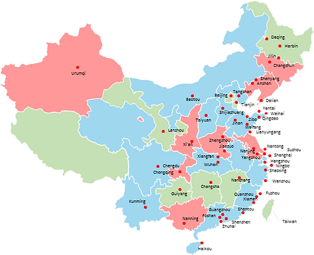China cities - Editable map