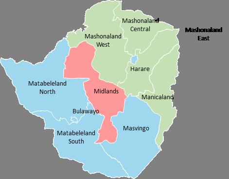 Zimbabwe - Editable map