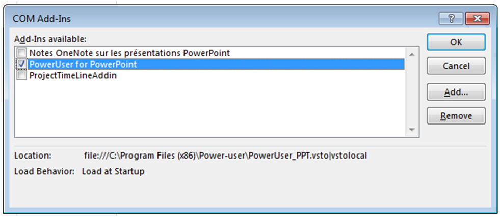 Add, load or remove add-ins for PowerPoint, Excel or Word - Dialog box