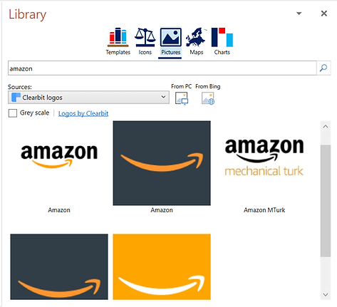 Power-user l PowerPoint add-in l Library - Clearbit logo browse