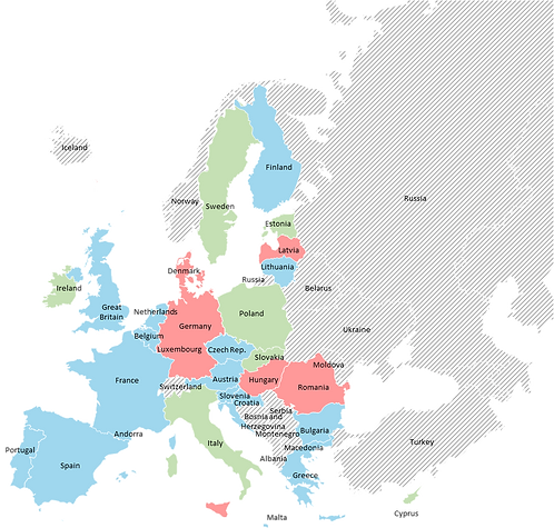 Europe (EU) - Editable map