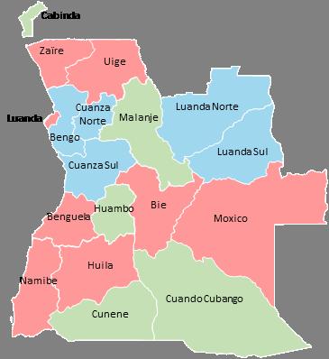 Angola - Editable map