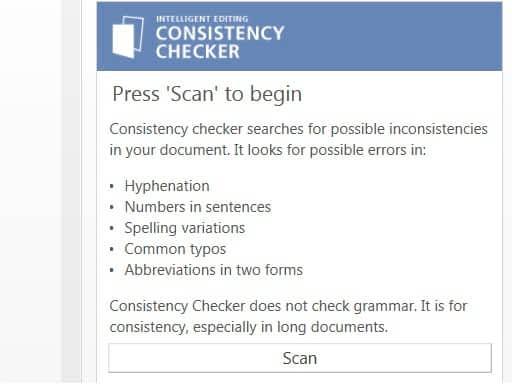 Word add-in l Consistency Checker