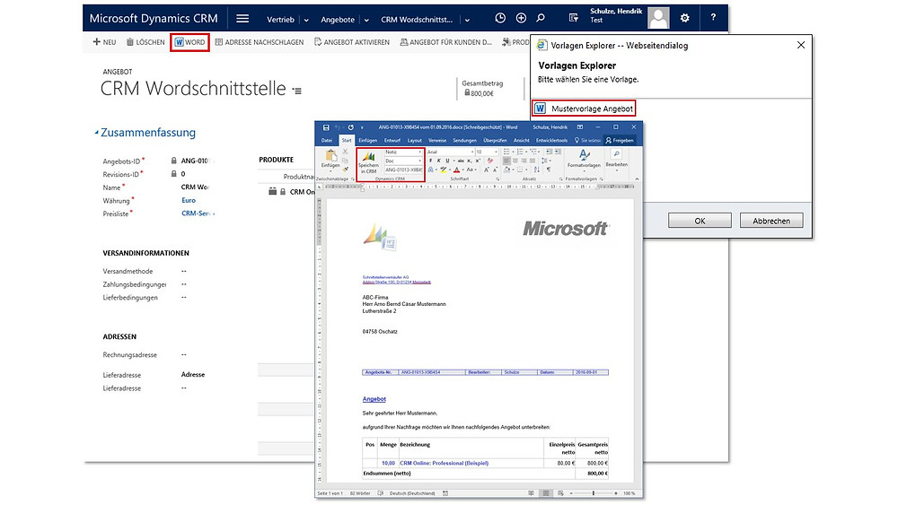 Word add-in l CRM Word Interface