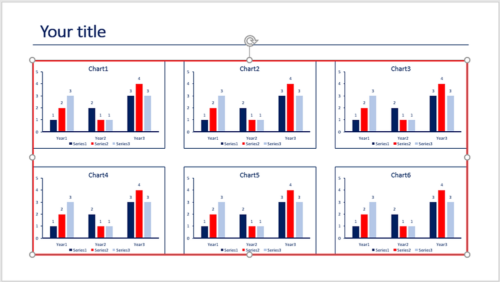 Create a red rectangle frame in PowerPoint to delimit the charts position
