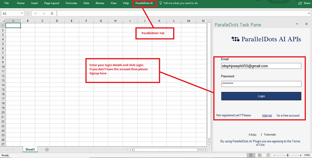 Excel add-in - ParallelDots
