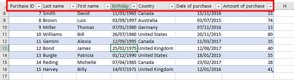 Excel Tables - Table headers remain visible even when you scroll down