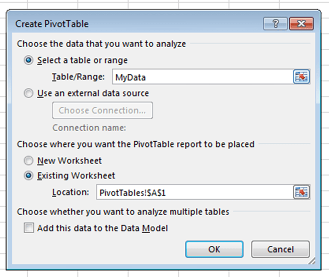 Excel Dashboard - PivotTable