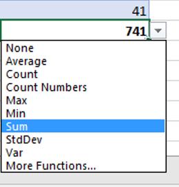 Excel Tables - Summarize Totals row