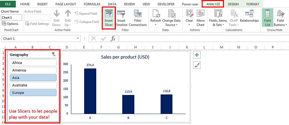 Excel Dashboard - Slicers