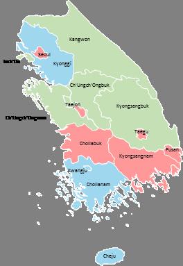 South Korea - Editable map