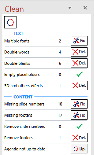 Power-user for PowerPoint, Excel and Word l Clean Presentation slide proofing tool