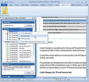 Word add-in l Link checker