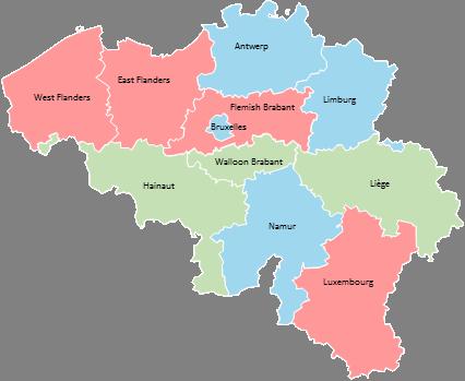 Belgium - Editable map