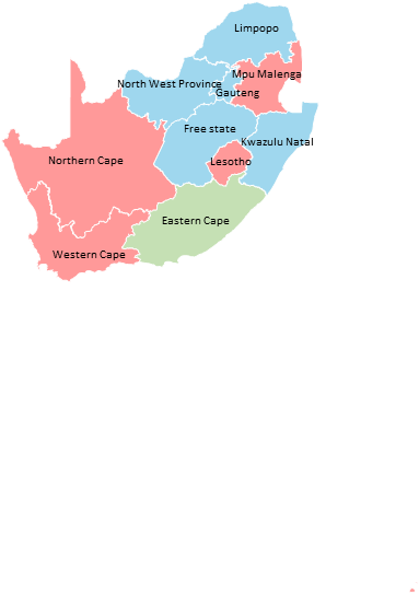 South Africa - Editable map
