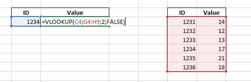 Excel regular VLOOKUP function