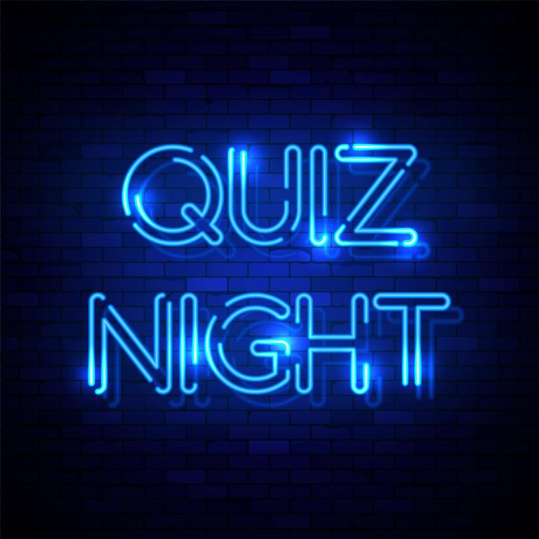 Quiz Night in blue neon