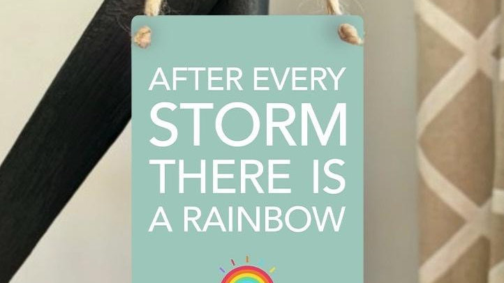 There is a Rainbow Mini Metal Sign